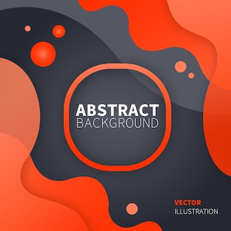 Modern design with liquid abstract forms orange color