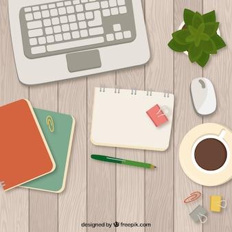 커피와 노트북 현대 책상