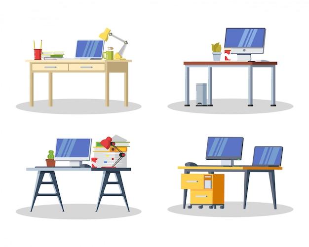 コンピューター、ランプ、フォルダー、本、お茶やコーヒー、文房具のあるモダンなデスク。