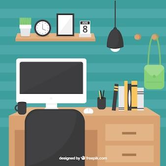 Современный письменный стол с плоским дизайном