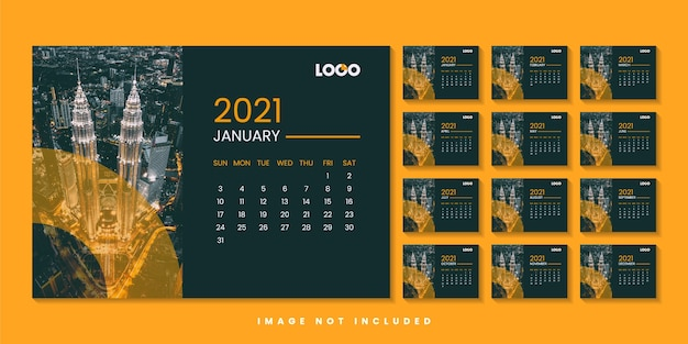 Modern desk year calendar design