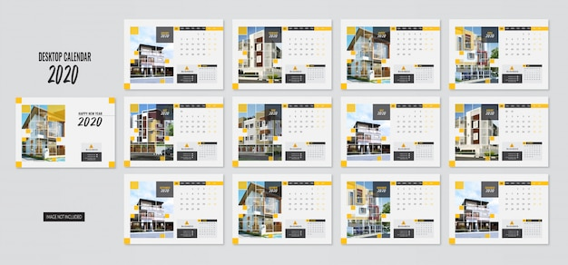 Modern desktop calendar 2020 a5 size template yellow color