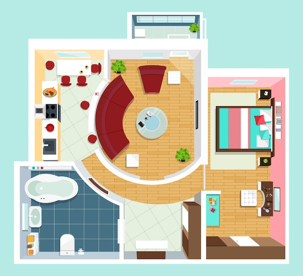가구와 아파트에 대한 현대적인 자세한 평면도. 아파트의 상위 뷰입니다. 벡터 평면 투영.