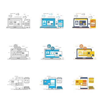 Modern device and data icon set