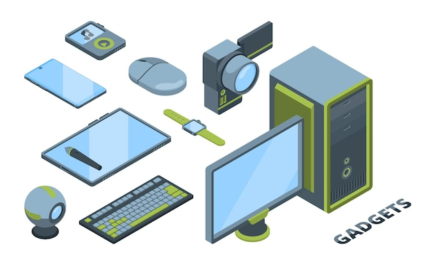 Modern devices isometric 3d illustrations set. electronic gadgets isolated cliparts pack. smartphone, personal computer, digital tablet.