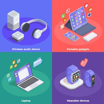 Modern devices isometric design concept with text and colourful images of smart watches and portable computers  illustration