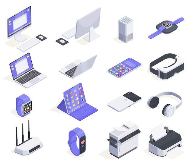 Modern devices isometric icons collection with sixteen isolated images of computers periphereals and various consumer electronics  illustration