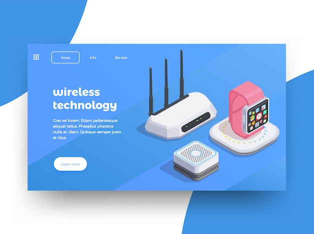 Modern devices isometric website page design background with images of smart watches wifi router with text  illustration