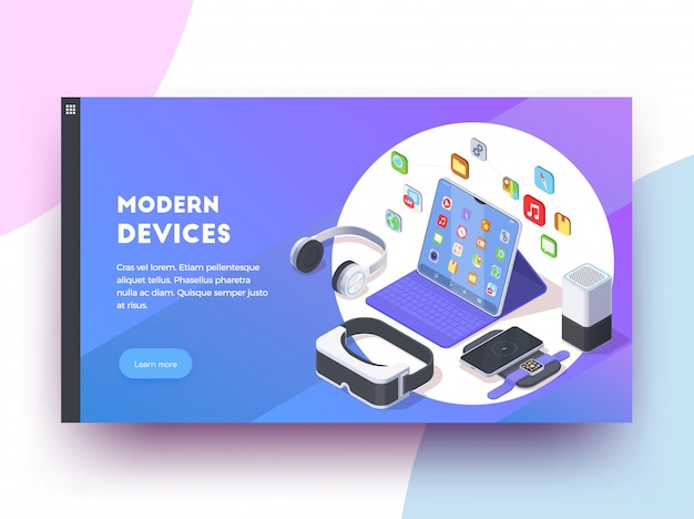 Modern devices isoometric web page design background with clickable learn more button text and colourful images  illustration