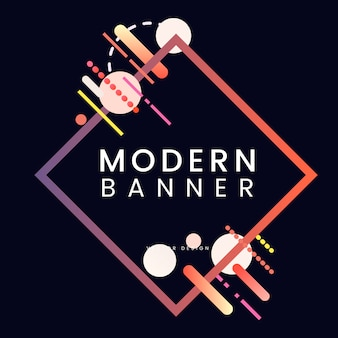 Modern diamond banner in colorful frame illustration