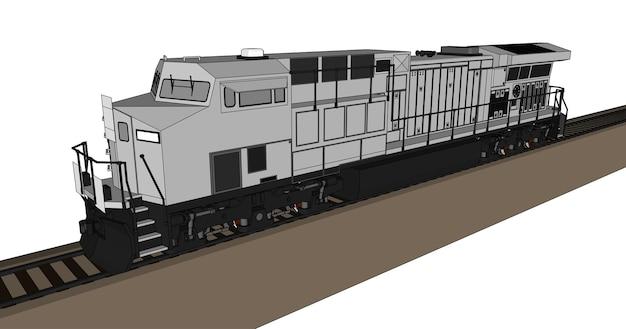 길고 무거운 철도 열차를 이동시키는 강력한 힘과 힘을 가진 현대식 디젤 철도 기관차. 개요 획 라인 벡터 일러스트 레이 션.