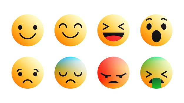 Modern different reactions facebook emoji icons set