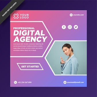 Modern digital agency instagram post template