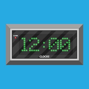 Modern digital clock with green digits