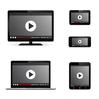 Современные цифровые устройства с веб-видеоплеером на экране