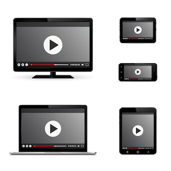 Modern digital devices with web video player on screen