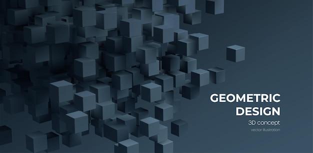 Современный цифровой геометрический куб абстрактный фон