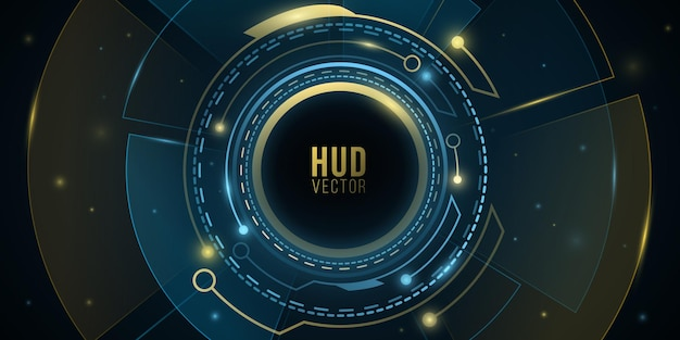 조명 효과가 있는 최신 디지털 hud gui ui. 미래 지향적인 공상 과학 사용자 인터페이스. 가상 그래픽. 기술 배경 디자인입니다. 대시보드 표시. 벡터 일러스트 레이 션