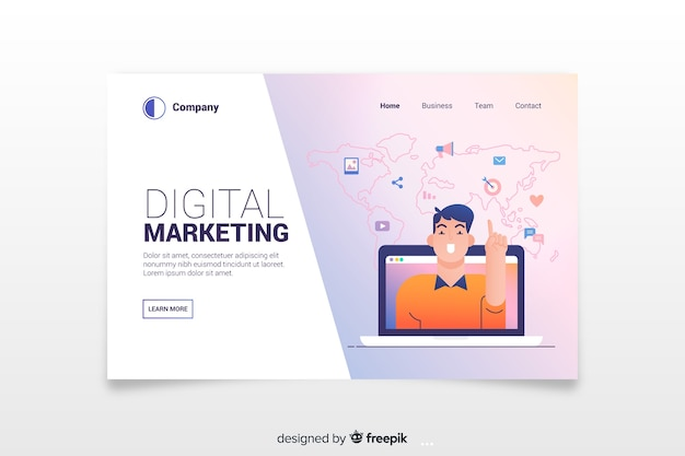 Modern digital marketing landing page