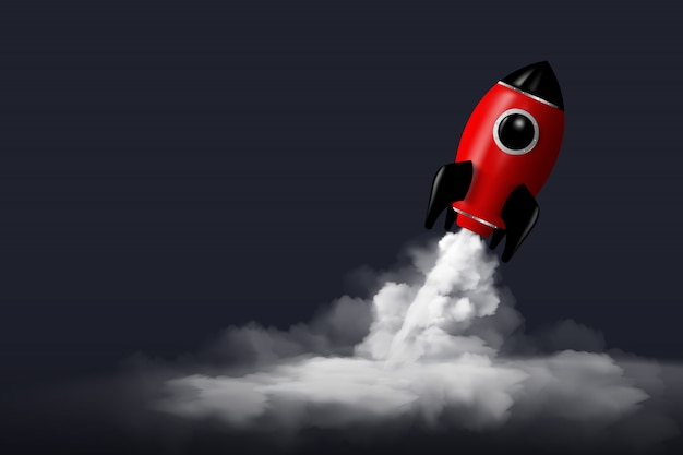 Modern digital rocket 3d rendering