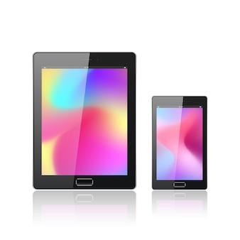 白で隔離のモバイルスマートフォンを搭載した最新のデジタルタブレットpc。抽象的な流体3d形状は、流行の液体の色の背景をベクトルします。色付きの流体グラフィック構成。