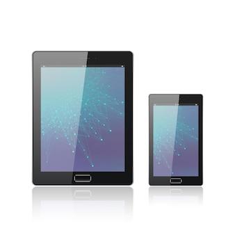 흰색으로 분리된 모바일 스마트폰이 있는 현대적인 디지털 태블릿 pc. 모바일 애플리케이션 인터페이스. 분자 및 통신 배경입니다. 과학 및 기술 개념입니다. 벡터 일러스트 레이 션.