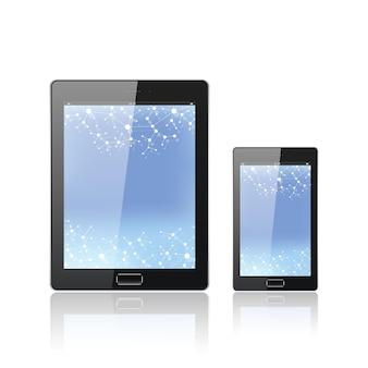 흰색으로 분리된 모바일 스마트폰이 있는 현대적인 디지털 태블릿 pc. 분자 및 통신 배경입니다. 과학 개념입니다. 벡터 일러스트 레이 션.