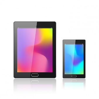 白で隔離されるモバイルのスマートフォンを持つ現代のデジタルタブレットpc。