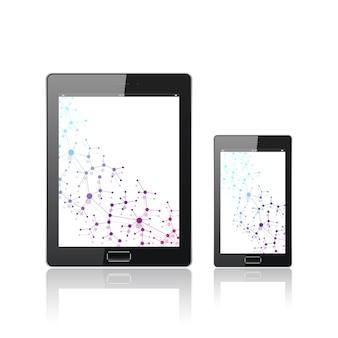 白で隔離のモバイルスマートフォンを搭載した最新のデジタルタブレットpc。