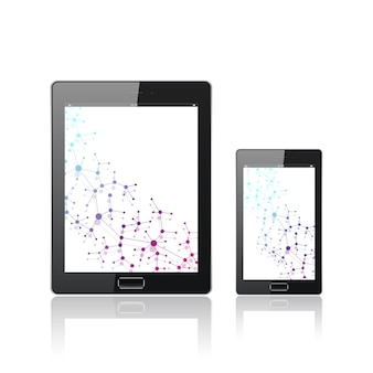 Modern digital tablet pc with mobile smartphone isolated on the white.
