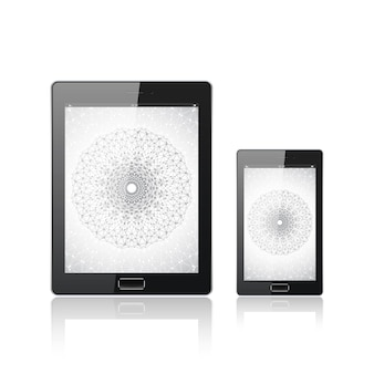 Modern digital tablet pc with mobile smartphone isolated on the white