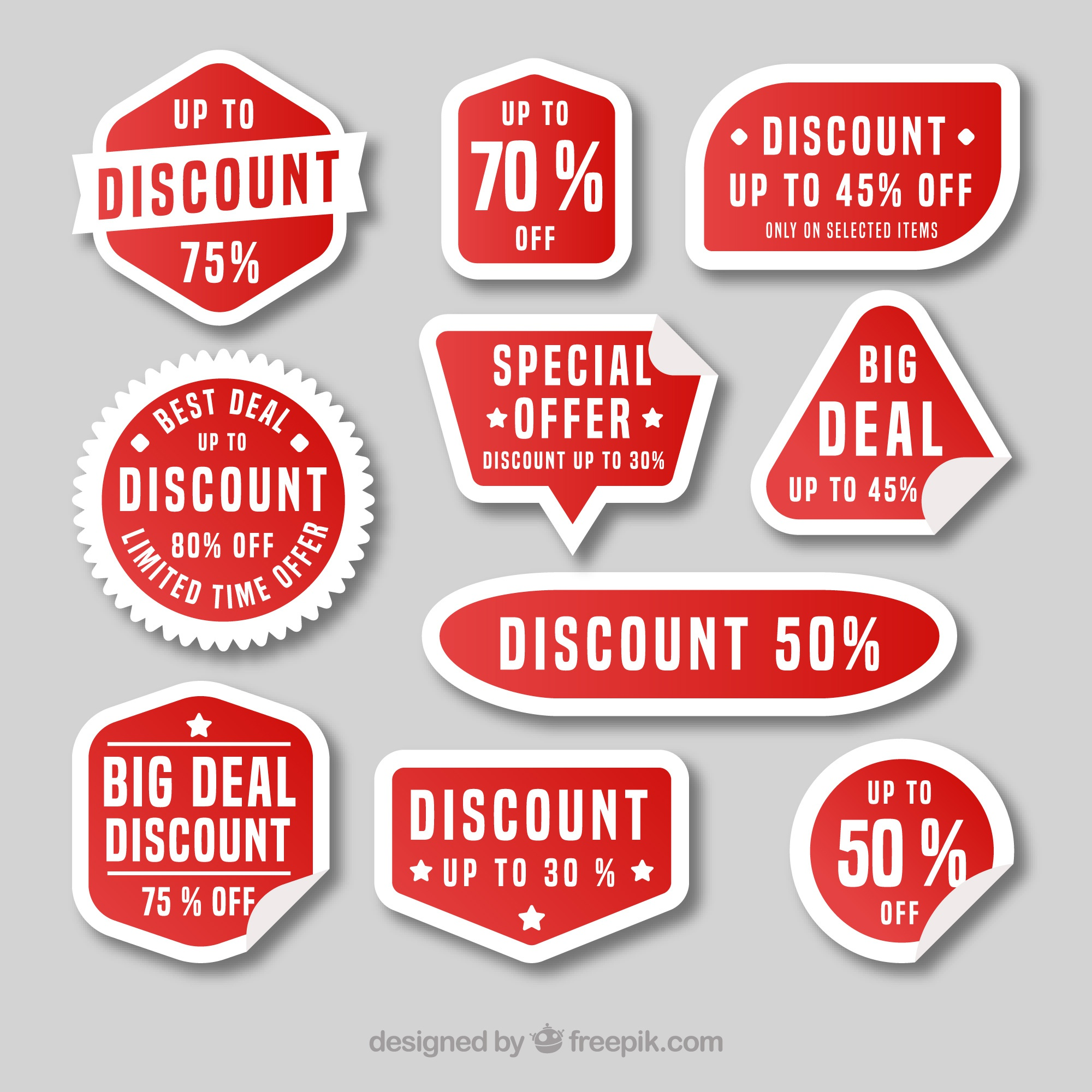 Modern discount sticker set