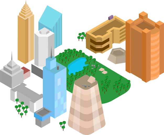 흰색 배경에 도시의 현대 지구 아이소메트릭 3d 레이아웃 벡터 일러스트 레이 션