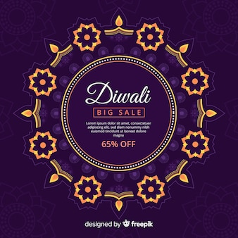 Modern diwali sale composition with flat design