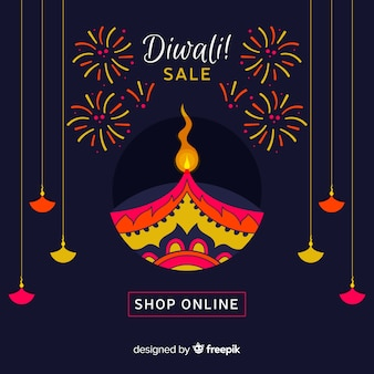 Modern diwali sale composition with flat design
