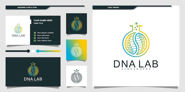 Современный дизайн логотипа dna lab с уникальным стилем штриховой графики и визитной карточкой premium vektor