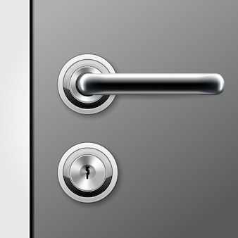 モダンなドアハンドルとフラットキー用の鍵穴-ロックされたドアのドアノブ