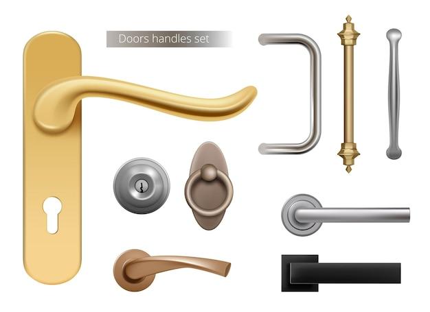 現代のドアハンドル。開いた部屋のドアのインテリア要素のための銀と金色の金属製の家具のハンドルは現実的です。ハンドルドア、ロック、ノブの図