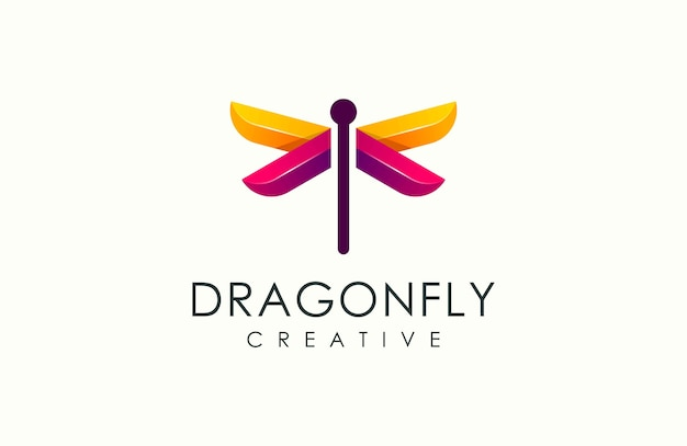 Modern dragonfly colorful logo vector illustration