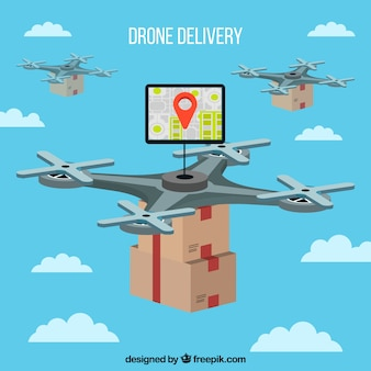 Modern drones carrying boxes