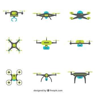 Modern drones with flat design