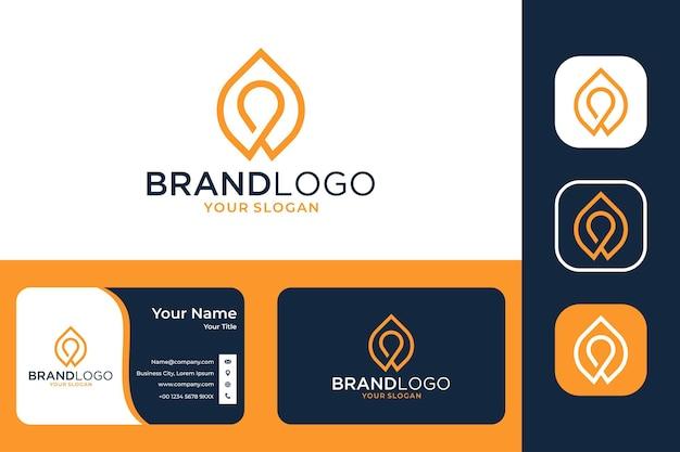 Современный дизайн логотипа drop line art и визитная карточка