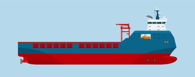 Modern dry cargo ship isolated. vector flat style illustration.