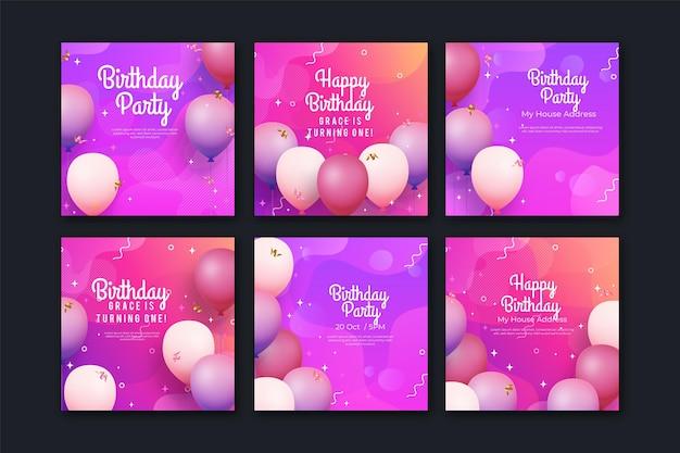 Современный двухцветный фиолетовый пост на день рождения в instagram