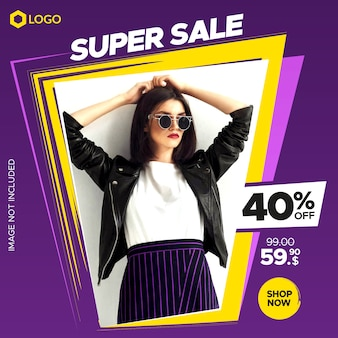 Modern dynamic sale banner for web and instagram post with abstract frame Premium Vector