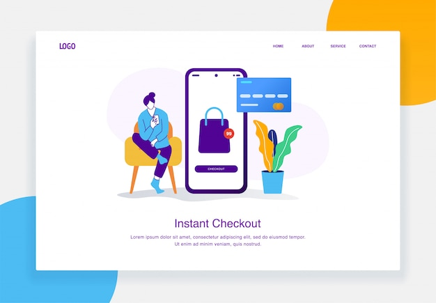 Modern  e-commerce illustration concept of women sitting making payments online with cards for landing page template