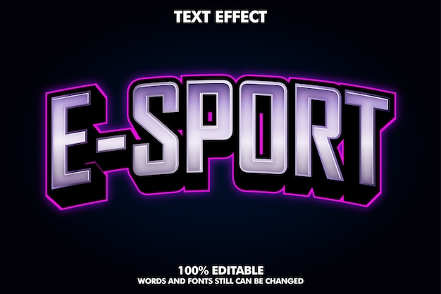 자주색 빛을 가진 현대 e 스포츠 로고