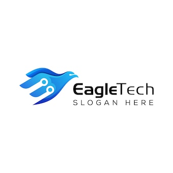 Modern eagle tech flying logo, technology eagle logo template