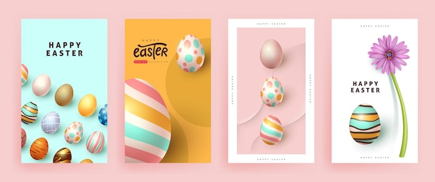 Modern easter banner poster  template with colorful eggs.
