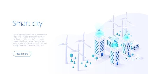 Современный частный эко-дом с ветряными мельницами и солнечными батареями. умный город.